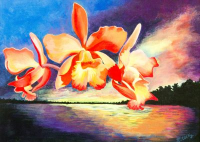 ORCHIDS OVER AN AMAZON RIVER SUNSET